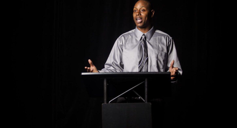 teaching from the podium